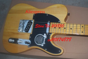 Wholesale - EMS Shipping arrival  F TELE solid body yellow Guitars Telecaster Natural wood Electric Guitar in stock