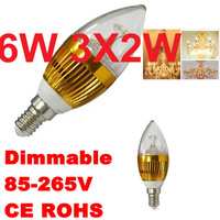 AC110V-240V 6W Led Spotlight Lamp E14 E26 LED Light Bulb Candle Lamp Warm White LED Lighting
