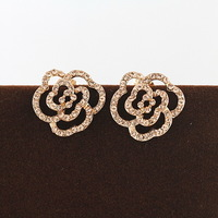 Accessories cutout rose stud earring female 18k gold austria crystal ITALINA quality earring