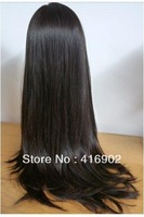 "hot sale Human Hair  Lace Wig 8""-22""  long 2#  dark brown silky Straight 100% Indian Remy Human hair Lace Front Wigs"