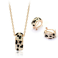 Brand Design 18K Rose Gold Plated Leopard with Rhinestones African Pendant Necklace and Earrings Jewelry Set