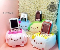Free Shipping/Tofu Cellphone Holder/ Cartoon plush mobile phone stand/ MP4 holder(China (Mainland))