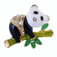 Fashion Alloy Enamel Black White Panda Brooch for Children's ,Sweater Jewelry (6PCS) free shipping