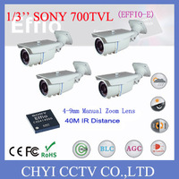 "4pcs 1/3"" Color SONY 700TVL  EFFIO-E 4-9 mm Manual Zoom Lens,OSD,IR 40M,Waterproof  Bullet Camera CCTV Camera IP66 Design"