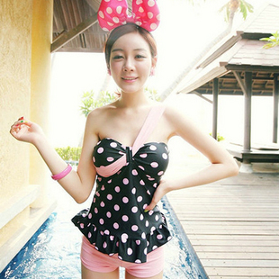 The new special offer package mail lovely pink hot spring wave point one shoulder fission boxer belly show thin swimsuit(China (Mainland))
