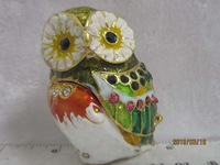 Fashion Owl trinket jewelry box metal craft with free shipping