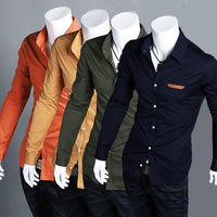 2013 fashion Men's spring slim shirt, casual shirt. 4 color option