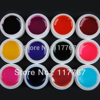 Hot New Sale 12 Colors Transparent UV GEL Nail Art Tips UV Builder Gel Set Free Shipping 600249