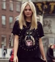 2014 Chic Dog head Rottweil Print Women Summer T shirt MEN fashion Tops Rhinestone Short Sleeve tshirt S/M/L/XL