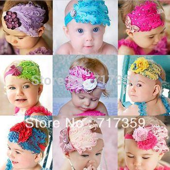 1Pcs Baby Girl Hair Band Infant Toddler Feather Flower Diamond Headband Headwear Hairband 9colors ay300015