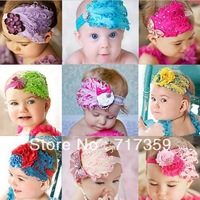 1 pc Baby Girl Hair Band Infant Toddler Feather Flower Diamond Headband Headwear  9colors  300015