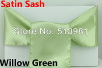 FREE SHIPPING 100 pieces willow green Satin Chair Cover Sash Satin Sash