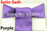 100% new 100 pieces Purple Satin Chair Cover Sash Satin Sash free shipping