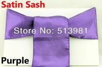 100% new 100 pieces Purple Satin Chair Cover Sash Satin Sash free shipping