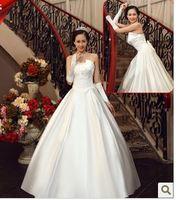 n113 vestido de noiva 2014    fashionable romantic  satin bow back satin simple  gown wedding dress bride bridal gown dresses
