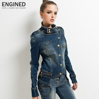 Engined long design motorcycle women's denim outerwear denim top long-sleeve denim jacket 2013 autumn new arrival  030