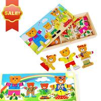 free shipping Clothing clothing toy child wooden jigsaw puzzle clothing