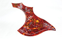 Acoustic Guitar Pickguard Red Tortoise Shell Flower Designed Right Handed