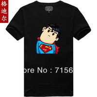 Promotions  2014 fashion new Men's Superman Cartoon image t-shirt male personality short-sleeve cotton T-shirt