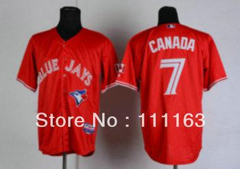 Baseball Jerseys- Blue Jays CANADA #7 Red  Baseball Jersey size:48~56+Mix Order