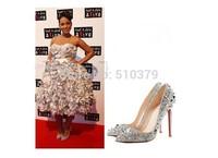Free shipping high heel shoes women Spikes shoes black platform pumps high heels Women Pumps  shoes