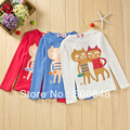 5pcs/lot baby girls tshirt kids top tee clothes  KB-YTP-3 , 3colors ,2-6 age