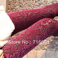 2013 free shipping fashion  decorative pattern  velvet ankle length legging decorative 2 colors