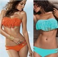 Free Shipping Hot Sale Swimwear Sexy Lady Padded Boho Fringe Bandeau Top Strapless Dolly Bikini Set New Swimsuit 5 colors S/M/L