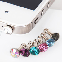 wholesale 200pcs Mini Diamond Earphone Dust Plug Cap for iphone and 3.5mm earphone mobile phone free