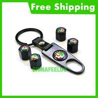 Cool Black Alfa Romeo car logo tire valve caps 4pcs with wrench key chain