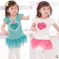 2013 new girl's clothes summer Dress t shirt tutu kids lace princess love heart flower pink and blue cotton