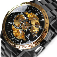 Fashion Full Black Genuine Upscale Multi-functional Double Faced  Hollow Automatic Mechanical Man's Watches Free Shipping