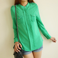 10041 - 2013 small stand collar pleated pocket casual ol chiffon shirt 0311 female