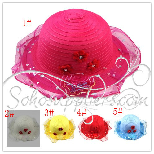 Children Floral Straw Summer Topee Kids Bright Sunhat Toddler Sunbonnet Girl's Sun Visor 5 colors 10pcs Free Shipping MZX-002(China (Mainland))