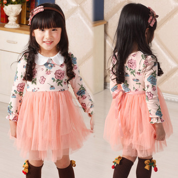 Free shippig New arrival holiday  Baby girl flower printed  long sleeve dress children's clothes 4 piece/lot party shirt