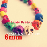 Free shipping! 200pcs 8mm thread turquoise skull beads in wholesale RC004