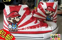 Super Mario Hand Painted Kids/Adults Canvas  Sneakers