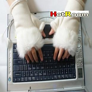 Women's fashion Rabbit Fur Hand Wrist Fingerless Gloves, 10 pairs/lot Free Shipping