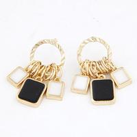 Min order $10 Fashion elegant black and white multi-circle pendant squares stud earrings for women