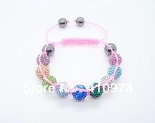Fine Jewlery Shamballa Bracelet Fashion Jewelry Micro Pave CZ Disco Colour Beads Color Rope Shamballa Bracelets CCB015