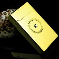Touch sensor electronic windproof lighter gold carved brief elegant gift box set k0.14