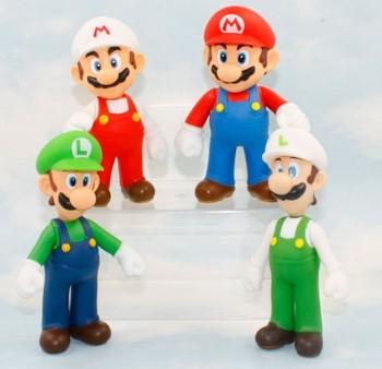 Free Shipping 20pcs/LOT Super Mario PVC Figure Mario Luigi Fire Mario Fire Luigi Figure Toy Dolls 4 Styles