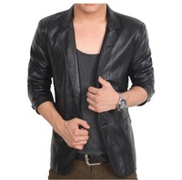 Free Shipping 2013 New fashion brand Top quality Men leather jacket men coat size: M-6XL