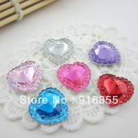 Free shipping the newest fashion 200pcs/lot  15mm lovely heart shape flatback resin rhinestone for DIY decoration(many colors)