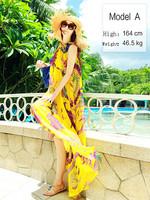 2014 Summer Floral printed chiffon beach dress,long yellow Chiffon dress,European summer new style princess dress