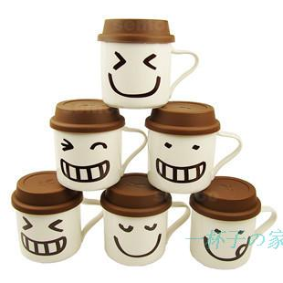 Ceramic cups with lids hat mug creative cup breakfast smiley expression cup lovers cup FREE SHIPPING