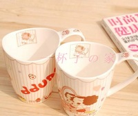 FREE SHIPPING Bone china cup lovers crescendos cup glass girl mug