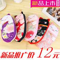 Fabric purse lucky cat coin purse women's big cartoon mobile phone bag coin case key