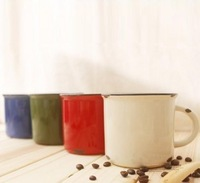 FREE SHIPPING Enamel retro zakka finishing ceramic cup vintage cqua brief classic mug coffee cup