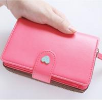 Sweet wallet fresh small wallet women's short design card holder mobile phone bag coin purse bag